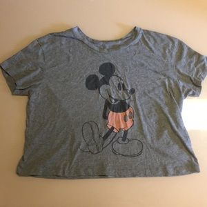 gray mickey mouse crop top